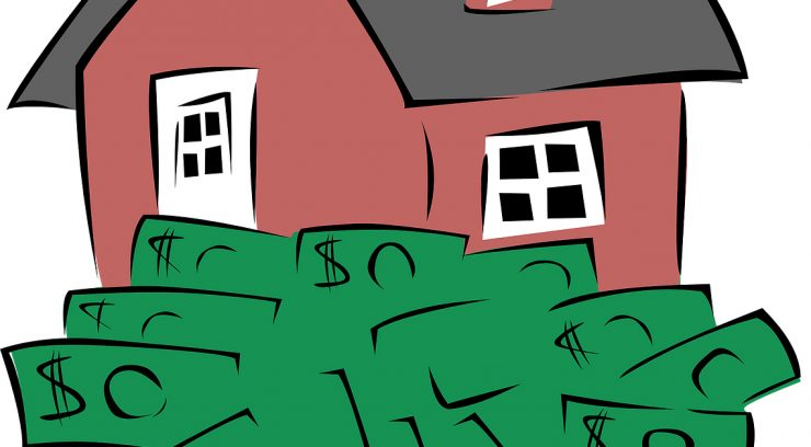 house with cash cartoon image